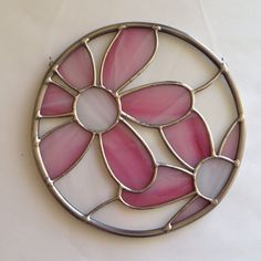 Stained Glass Pink Flower Suncatcher by FoxStainedGlass on Etsy