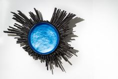 Galactic, ebonised oak with blue pearlescent ink, 2002