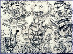 Chicano art clown drawing