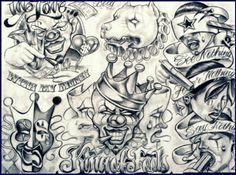 Chicano art clown drawing