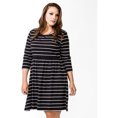 FOREVER 21+ PLUS SIZES Striped Flared Dress ($20) via Polyvore