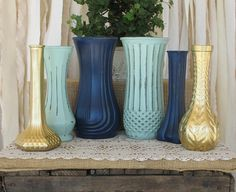 Vases,Hand Painted Flower Vases, upcycled flower vases, Rustic wedding centerpieces, Navy Blue, Mint and Gold wedding