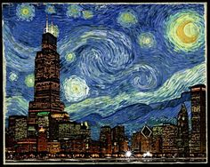 Vincent van Gogh - Starry Night Spoof - Chicago Starry Night