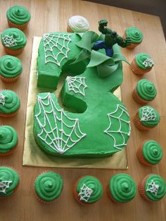 hulk cake by frostmesweet, via Flickr    i wouldn't add the spiderwebs, instead i'd add smashed rocks
