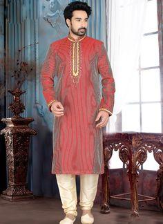 Majestic Rust Art Silk Wedding Wear Kurta Pajama