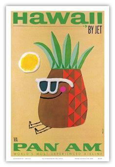 Hawaii by Jet - Pan American Airlines (PAA) - Mr. Pineapple Head - Vintage Hawaiian Travel Poster by Phillips - Hawaiian Master Art Print - 13 x Hawaii Vintage, Vintage Hawaiian, Hawaiian Art, Pineapple Vintage, Pineapple Art, Hawaiian Birthday, Vintage Films, Vintage Art, Vintage Prints