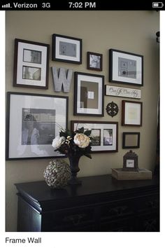 Picture wall idea...mixed media...include letters/words with pics;  I especially love this because of the W. I need all the help I can get.
