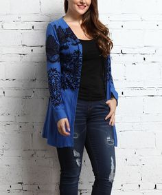 Look what I found on #zulily! Blue Lace-Print Cardigan - Plus by Reborn Collection #zulilyfinds
