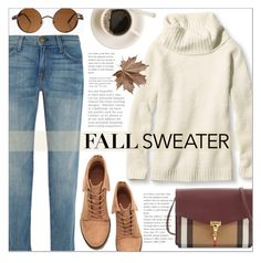 """Cozy Fall Sweaters"" by that-chic-girl ❤ liked on Polyvore featuring L.L.Bean, Current/Elliott, Burberry, polyvorecontest and fallsweaters"