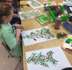 Stamp a winter tree kindergarten or 1st grade art