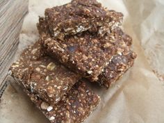 Healthy Clif Bars  (5g sugar/bar compared to 40-50g sugar/Clif bar)  1 1/2 cups of Gluten Free Rolled Oats 3 scoops of Chocolate Protein Powder 1/2 cup of Puffed Quinoa  2 tsps of Cinnamon  1 tsp Vanilla Extract 4 Tbsp of Nut/Seed Butter  4 Tbsp Date Paste (just soaked dates and a dash of hot water in the food processor) 2 1/2 Tbsp of flax Seeds 1 Tbsp of Coconut Oil