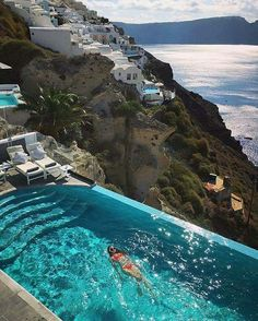 Looking the best honeymoon destinations in the world for honeymooning is called Santorini in Greece. Santorini honeymoons all inclusive packages in Greece Beautiful Villas, Beautiful World, Beautiful Places, Wonderful Places, Beautiful Hotels, Oh The Places You'll Go, Places To Travel, Travel Destinations, Holiday Destinations