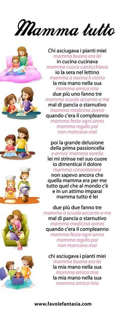 Mamma tutto_testo Learn To Speak Italian, Italian Vocabulary, Canti, Italian Words, Music Pics, Italian Language, Maria Montessori, Learning Italian, Vintage Children's Books