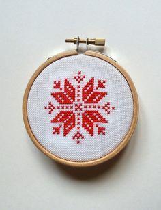Nordic/Scandi snowflake design cross stitch embroidery hoop art christmas decoration.