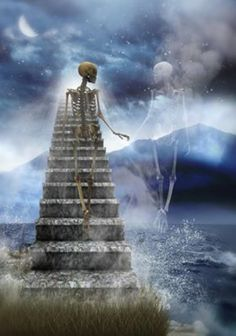"""I waited for eternity LIKE I SAID... now you're finally joining me.. skeletons, bony hand in bony hand.. spending eternity together, but once up the """"Stairway To Heaven"""" we'll be humans again and no longer bones .. flesh.. :O ... <3"""