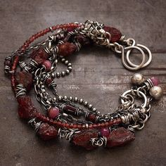 summer chain bracelets sterling silver ruby rough by ewalompe