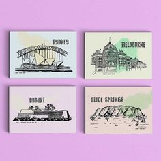 These postcards are all hand drawn, is printed on beautifully textured 190 gsm paper, double sided.  Set of 4 cards : Sydney : Sydney Opera House
