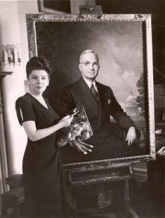 Greta Kempton with her portrait of President Harry Truman; courtesy of the Kempton Foundation