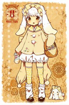 【PFSR】ミルク・シフォン・ガトーラパン【フリー】 Kawaii Chibi, Cute Chibi, Kawaii Art, Kawaii Anime, Moe Manga, Moe Anime, Manga Anime, Anime Girl Dress, Anime Art Girl