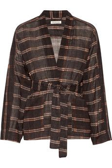 Étoile Isabel Marant Velda checked cotton-gauze top | THE OUTNET