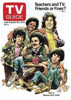TV Guide October 22, 1977 - , Ron Palillo, Lawrence Hilton Jacobs,  John Travolta, Gabe Kaplan and Robert Hegyes of Welcome Back Kotter. Illustration by Jack Davis