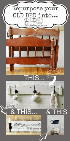 Repurposed Headboard Coat Rack & 4 Instant Art Prints - Nothing Goes to Waste - Knick of Time