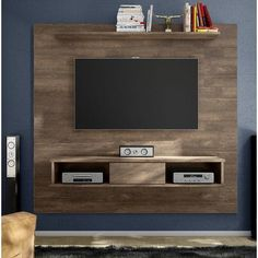 Floating Entertainment Center Mount Media 70 Tv Stand Wood Distressed Wall Unit for sale online