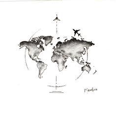 Globe world map with plane tattoo design by Mandira Globus Weltkarte mit Flugzeug Tattoo Design von Mandira M Tattoos, Maori Tattoos, Tattoo Drawings, Body Art Tattoos, Small Tattoos, Water Color Tattoos, Tiny Tattoo, Globus Tattoos, Mundo Tattoo