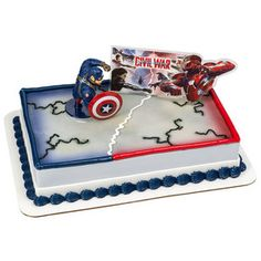 Captain America Civil War Cake Topper Cake Decoration Whose side are you on? Iron Man or Captain America? Divide and conquer your decorating Captain America Cake, Captain America Birthday, Captain America Civil War, Avengers Birthday, Superhero Birthday Party, Birthday Parties, Dinosaur Birthday, Twin Birthday, Birthday Cakes