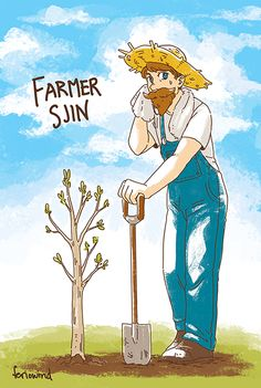 Farmer Sjin planting his first mahogany tree!