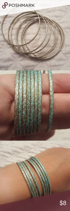Eight Blue and silver bangle bracelets Can be worn separate or together. Best offer, will give further discount with multiple bundled jewelry items. Jewelry Bracelets