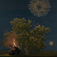 Oak Tree, Bonfire, Moon and Firework by David Inshaw. Compare Oak Tree, Bonfire and Fireworks Nocturne, Badminton, Pop Art, Tate Gallery, Magic Realism, River Bank, Art Society, Arte Pop, Fine Art