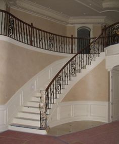1000 images about house ideas stairs foyer on pinterest for Double curved staircase