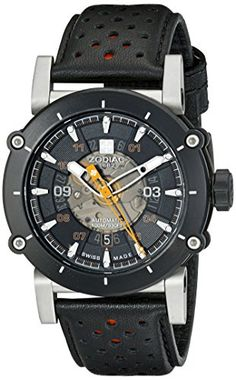 Men's Wrist Watches - Zodiac Mens ZO8572 ZMX2 Black Stainless Steel Watch with Black and Red Band * Click image for more details.
