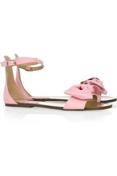 RED Valentino bow-embellished leather sandals.