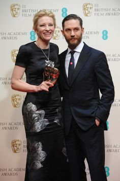 Tom Hardy presented the BAFTA Film Award for Leading Actress to Cate Blanchett for Blue Jasmine.