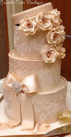 Lovely hatbox cake from Crumbs Cake Boutique