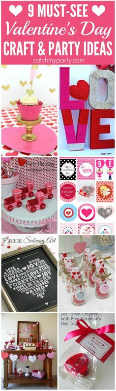 9 Must-See Valentine's Day Crafts and Party Ideas including desserts, party decorations, free printables, and more! These ideas are perfect for a kids Valentine's Day party or celebrating with your spouse! | CatchMyParty.com