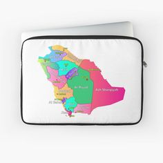 """The Kingdom of Saudi Arabia map regions and capitals names and the Regional Boundaries"" Laptop Sleeve by mashmosh Capital Name, Shirt Price, Sleeve Designs, Saudi Arabia, Back To Black, Regional, Laptop Sleeves, Names, Map"