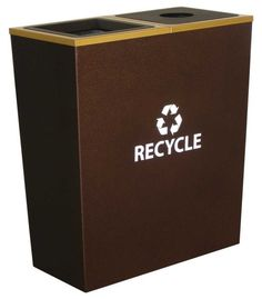 """Metro Recycling Receptacle - Double Stream (Hammered Copper Body/Sunburst Gold Collar) (31""""H x 28""""W x 14""""D)"""