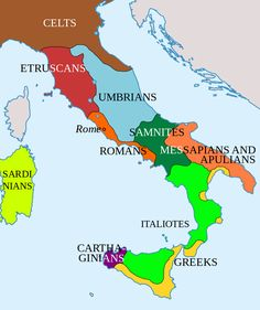 Italy before Roman conquest In its early years, the Romans shared Italy with several other peoples. The dominant power in the neighborhood of Rome was the Etruscans. We don't know very much about these people, in part because we haven't figured out how to read their distinctive language. But the evidence suggests that Rome was ruled by Etruscan kings until the Romans revolted and established a republic — an event that is traditionally dated to 509 BC.