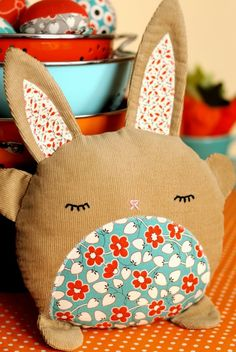 PDF Sewing Pattern Betsy & Basil Bunny Softies. $8.00, via Etsy. See as pillows Abd give as gifts to children we know