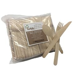 Premium EcoFriendly Birch Wood Cutlery Set  Pack Of 200 Biodegradable Forks Knives  Spoons  Disposable Wooden Utensils For Parties Picnics Events  Weddings  Durable  Environmentally Safe * Read more at the image link. (This is an affiliate link and I receive a commission for the sales) #KitchenUtensils