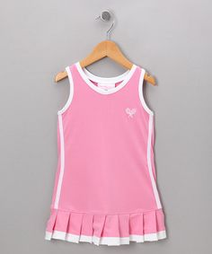 Take a look at this Pink & White Pleated Dress - Toddler & Girls by Little Miss Tennis on #zulily today!