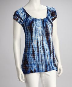 Take a look at this Royal Blue Tie-Dye Peasant Top - Women by Erge on #zulily today!