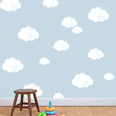 Use this single cloud stencil to paint a sky themed room in your kids, playroom or nursery. This would look great with white painted clouds
