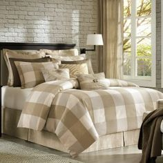 Bedding Set, Beige, Natural, Plaid, Comforter, Bedroom, Twin Size, Queen Size, King Size, Home Decor | Silver Nest