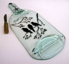 Recycled Wine Bottle Serving Tray/Cheese Board With by CDChilds