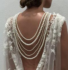 Bridal jewelry set, Wedding necklace, Ivory pearl back drop necklace via GlamDuchess