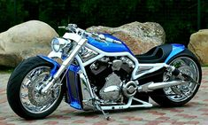 """Awesome custom bike Harley Davidson V Rod """"Blue"""" by Fredy. Custom Street Bikes, Custom Sport Bikes, Vrod Harley, Harley Bikes, Harley Davidson Chopper, Harley Davidson Motorcycles, Vespa Scooter, M109, Harley Davison"""